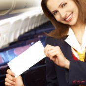 smiling flight attendant